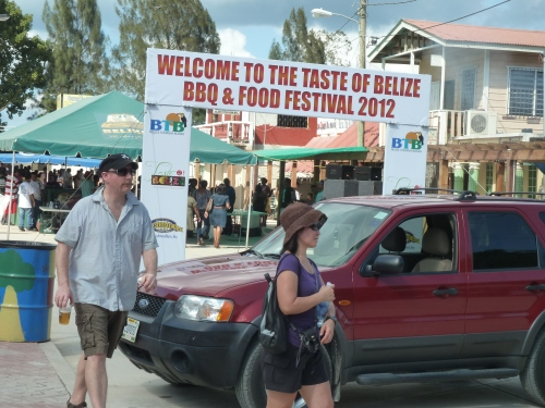 "Sunday's food fest in San Ignacio, the town the locals call 'Cayo"" since it's a town in Belize's Cayo District in Western Belize."