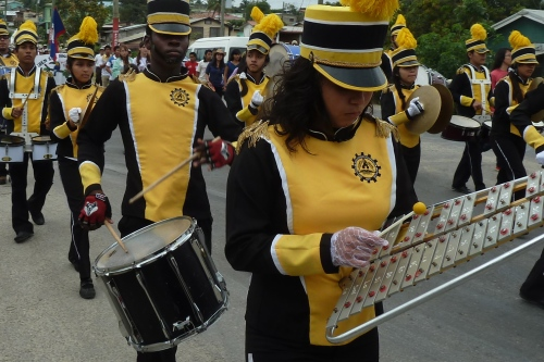 the pride of Santa Elena, Belize: the Eden High School (Seventh Day Adventist Denomination) Marching Band, celebrating the mighty fine school's 25th anniversary.