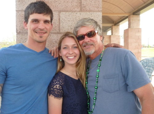 Reunited with the McKay bloods of my blood back in Texas: Old hippie dad with his son Adam McKay (an Iraq War veteran/Marine) and  youngest daughter Megan McKay, she who is getting married in October. Americans will want to lock their doors the week of that McKay wedding wingding. Be afraid. Be very afraid.