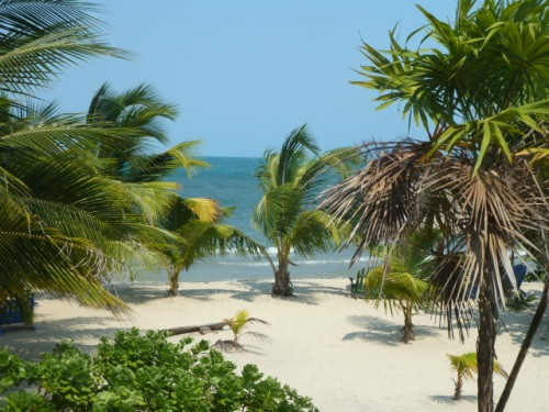 Meanwhile, down on the Placencia Peninsula in southern Belize, the view from my hammock at Barnacle Bills.