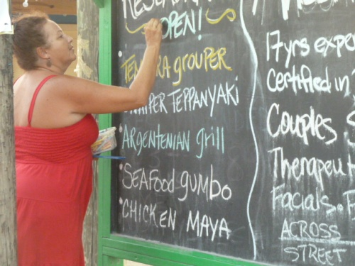 Eating is terrific at Placencia down south on the Caribbean beach.