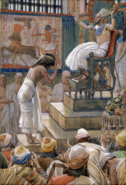 """Joseph and His Brethren Welcomed by Pharaoh,"" watercolor by Joseph Tissot"