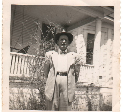"Charles Dean ""Deanie"" McKay Sr. at the house on Elm Street, Navasota, Tx, where I was raised the first 10 years of my life, before the move to Kettler St."