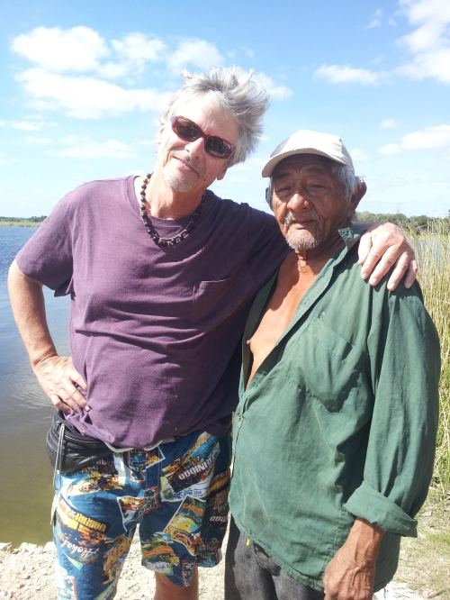 "A blast from the past: Me and my friend ""Pops"" the sugar cane grower up at the lagoon in Luis Village near the Mexico border in Corozal District in far north Belize; sugar country. This was back on Christmas Day."