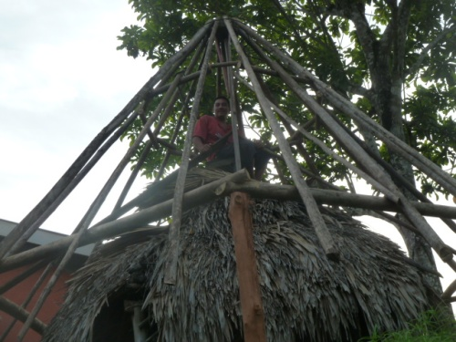 "Martin, who said he's ""de-thatching"" the old gazebo to build a bigger gazebo at his home in Cristo Rey Village."