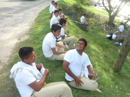 School boys from Guatemala who had been in Belize for a school event stopped by the Mopan Riverside on the way home.