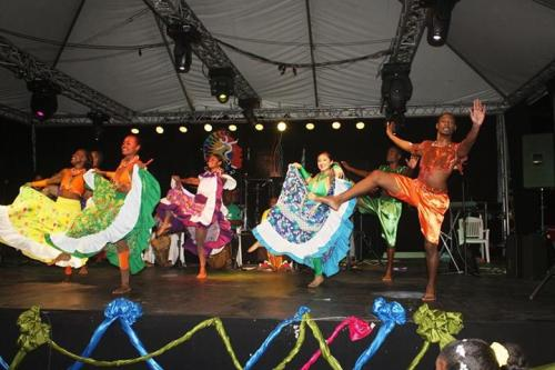 Belize's colorful National Dance Company performing at a September event in Belmopan recently.