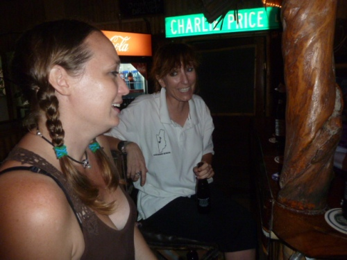 Expats Lacy (born in Uvalde, Tx but most of life in Belize) and Catherine (right), a local music teacher, at the Bamboo Club. All the American bloods were out and about were out and about for a large time at Belize's birthday part in San Ignacio.