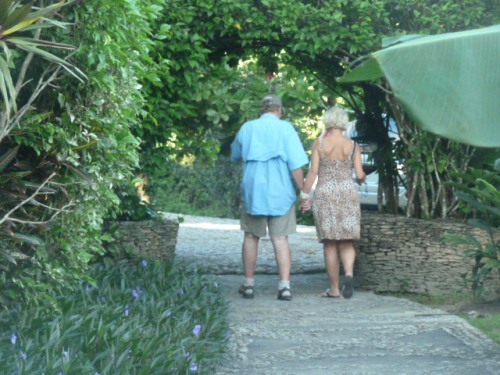 An expat couple who had dropped in for a meal at Coppola's nearly empty resort.