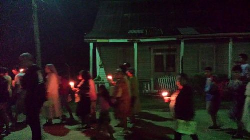 A few of the candle bearers on a recent night in a customary Posada procession in the village of Benque, Belize. Posadas are  holy celebrations observed mainly in Mexico and here in Central America as well as some parts of the U.S. where Franciscan monks introduced the Advent custom. Scroll down for more info about Posadas.
