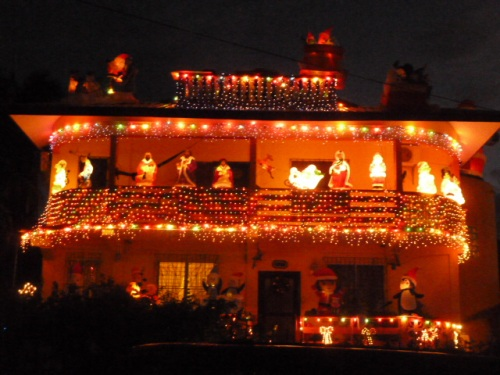 A hillside home on Christmas Eve here in San Ignacio, Belize.