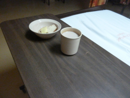 "A patient's ""supper"" at a regional hospital in Belize. If hospitalized here, bring your own food or have someone bring you a decent, reasonably nutritious meal."