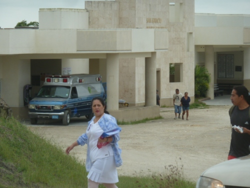 The government owned and operated San Ignacio Community Hospital, a few miles outside of San Ignacio, BZ. That refurbished ambulance at the ER was donated by the Seventh Day Adventist Church in Florida last year.