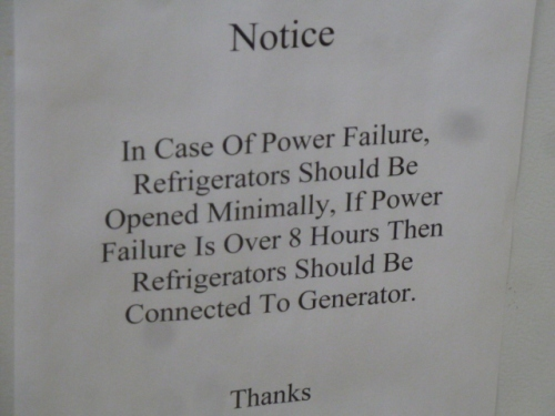 Notice on a fridge in an exam room.