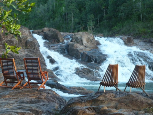 Zen chairs compliments of Gaia Riverlodge.