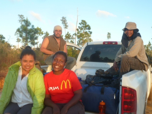 Since the group of campers had completed the trail improvement project and training ahead of schedule, these four college students asked to ride back to San Ignacio with me--after a week of camping they were ready to sleep in their own beds Saturday night.