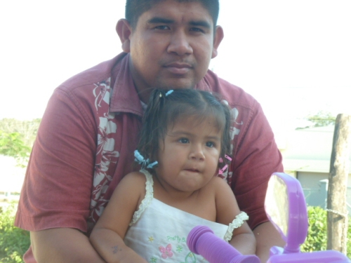 My friend Antonio with one of his four children. He works at a beach resort in Placencia on the southern Belizean coastline, working 10 days and coming home to western Belize for three days at a time. He dotes on his children when home, as really loving a family man as I've ever seen.