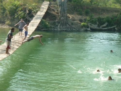 Diving off the swing bridge