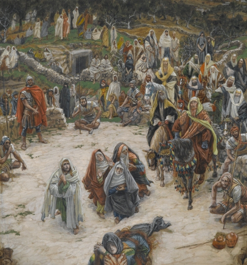 Jesus looks into our hearts and minds from the vantage point of the cross--that should humble us in our views of Judgment. Watercolor by Christian artist James Tissot (1836-1902).