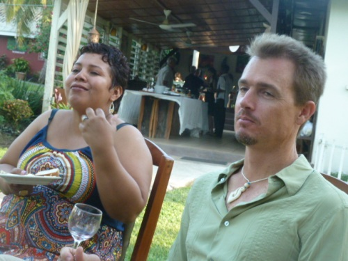 "Tennessee-born Julian and his Belizean wife  chilling at their Orange Gallery resort. ""My parents, my siblings, my wife and now my children all love Ed Jenkins--he's practically family,"" Julian said. ""And talk about courageous--it takes real courage to submit yourself to BRAIN SURGERY in Belize."" Indeed, it's not exactly famous for anything like quality medical care. In fact, The country's only neurosurgeon--who performed the successful surgery on Ed's brain--only arrive a couple of years ago in Belize from Mexico. But nice to know we actually have a good brain surgeon here in this crazy country."
