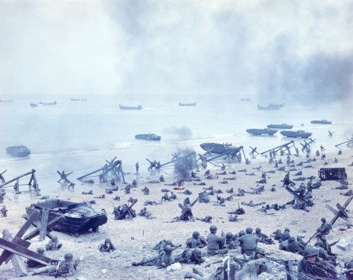 A general view of the scene on D-Day, WWII, at Normandy Beach, France on June 6, 1944. (Photo by Camerique/Getty Images)