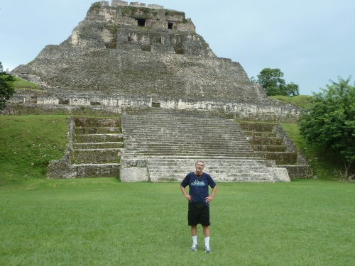 "Guess who at ""El Castillo,"" the Maya temple at Xunantunich, which is featured in the video above."
