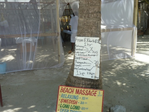 One of the best things about Belize, the massages are wonderful and often really, really cheap, like $30 $40 an hour (except at the more exclusive resorts, of course, though even those are cheaper usually than in the States.