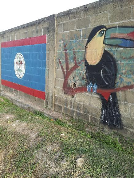 The national bird of BZ (toucan) and the flag, too.