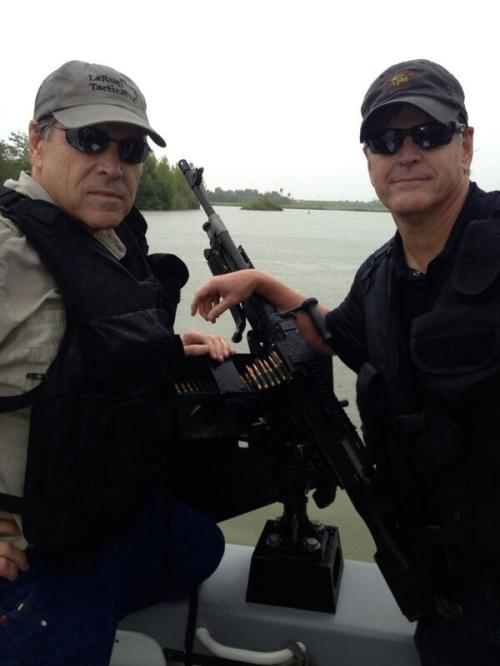 Apocalypse Now: Governor Perry and his sidekick in the ally in the Press Sean Hannity, patrolling the border on the lookout for 8 year old children from Guatemala seeking asylum under a law passed by George W. Bush's signature. Talk about a photo op; the Guv knows how to get it.