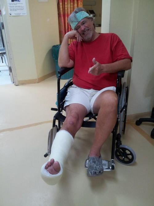 Two weeks and three days after my spill, I got a new cast, and six to eight more weeks of no jitterbug dancing Next time I wanna  get out I'll go to the beach where the ground is level.