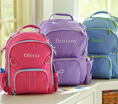 Back-to-School with monogrammed backpacks--a must for the 2014  school year.