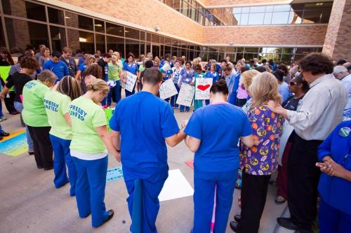 Nurses, other caregivers and support staff at Texas Health Presbyterian Hospital Dallas organized and participated in a support rally earlier today outside of the facility's emergency department. They shared stories of their experience at Texas Health Dallas, offering prayers and words of encouragement for their patients and one another. I'm sure the chaplains--God bless chaplains who do ministry in the trenches outside church walls in hospitals, hospices, war zones and elsewhere--were involved.
