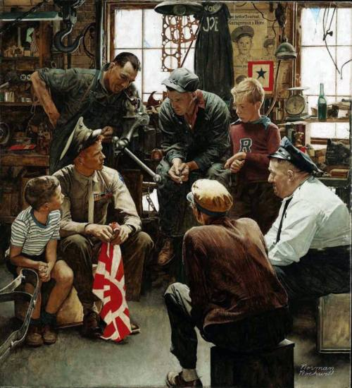 """Homecoming Marine"" by Norman Rockwell"