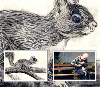"The typewriter artist Paul Smith, born with severe cerebral palsy, befriended a squirrel, and then was inspired to ""type"" a picture of him."