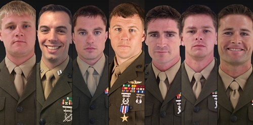 This composite image shows the Marines killed in a helicopter crash off the coast of Florida on March 10, 2015. From left,  they are Staff Sgt. Kerry M. Kemp, Capt. Stanford H. Shaw III, Master Sgt. Thomas A. Saunders, Staff Sgt. Andrew C. Seif, Staff Sgt. Liam A. Flynn, Staff Sgt. Marcus Bawol and Staff Sgt. Trevor P. Blaylock. (Photos released by the Marine Corps)