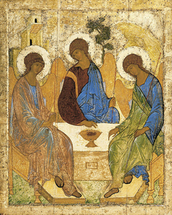 Russian icon by Andrei Rublev (1360-1430) depicting the three visitors to Abraham and Sarah (Genesis 18).