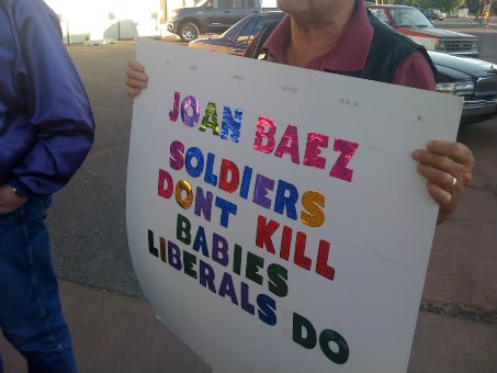 Joan Baez never said soldiers were baby killers, but some still take her anti-war stance as a personal affront.