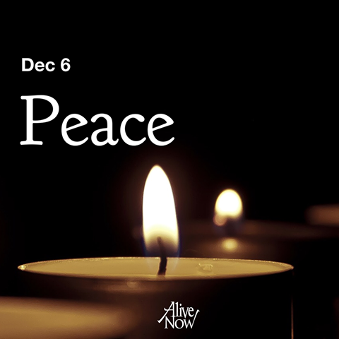 Second Sunday of Advent: A candle is lit for peace.