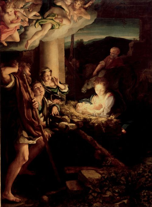 The Nativity (also known as The Holy Night (or La Notte) or as Adoration of the Shepherds) is a painting finished around 1529–1530 by the Italian painter Antonio da Correggio. It is housed in the Gemäldegalerie Alte Meister, Dresden.