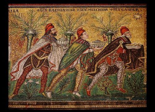 The magi follow the star in this sixth-century mosaic at the Basilica of Sant'Apollinare near Ravenna, Italy.