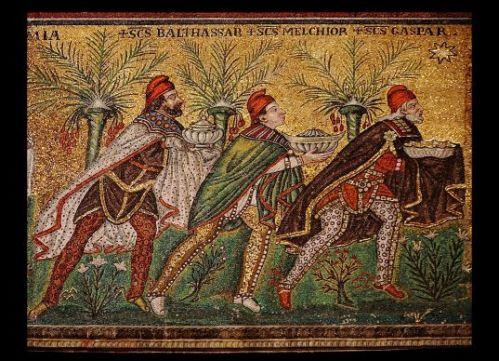 The magi follow the star in this sixth-century mosaic at the Basilica of Sant'Apollinare near Ravenna, Italy.