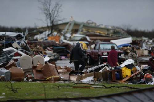 Damage from a tornado that struck Garland, Texas, where my brother and wife have lived for more than 40 years. This Dallas News photo Nathan Hunsinger