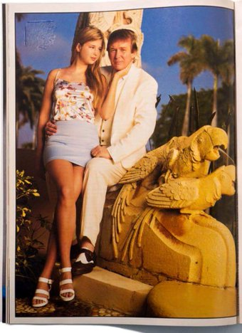 Donald in a seriously creepy photo with his famous, Playboy cover girl/daughter Ivanka and his famous gold parrots having sex.