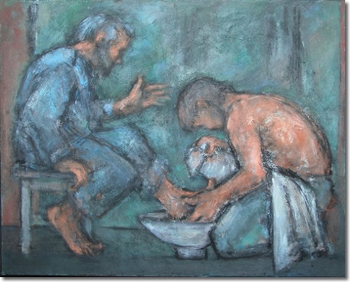 The washing of the feet  Ghislaine Howard (b.1953 ) Methodist Collection of Modern Christian Art