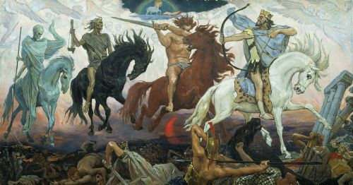 Four Horsemen of the Apocalypse - Conquest, War, Famine & Death, an 1887 painting by Viktor Vasnetsov. Notice that the Lamb is visible at the top.