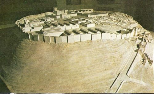 "Model of Megiddo, 1457 BCE.  Armageddon is a Hebrew word meaning ""valley of Megiddo."""