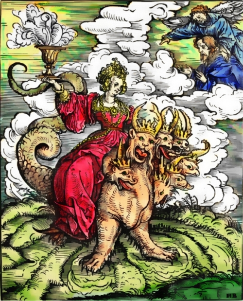 A 1523 woodcut by Hans Burgkmair, for Martin Luther's translation of the New Testament, depicting the Whore of Babylon riding the seven-headed Beast