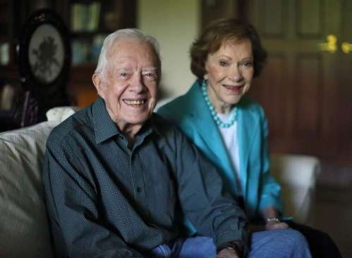 Jimmy and Rosalynn Carter talk about their years together in his office at the Carter Center in Atlanta on June 22, 2016. They will celebrate their 70th wedding anniversary July 7. BOB ANDRES / BANDRES@AJC.COM