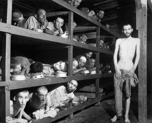 At Buchenwald, April 16, 1945: Elie Wiesel, second row, seventh from the left