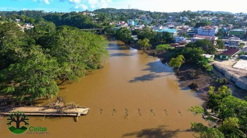 "An aerial view of San Ignacio's landmark ""low bridge,""  which has survived many floods and hurricanes but was no match for Earl. More than half of it washed ashore."